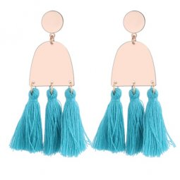 P130125 Turquoise Green Geometry Tassel Earstuds Wholesale