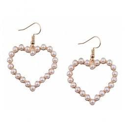 A-H2-110E052 Golden Heart With Pearl White Beads Hook Earrings