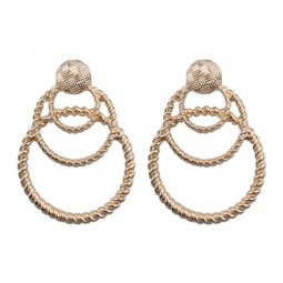 A-FX-E3395 Gold Overlap Circles Korean Fashion Trendy Earstuds