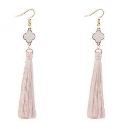 P127553 White Clover Elegant Tassel Hook Earrings Accessories