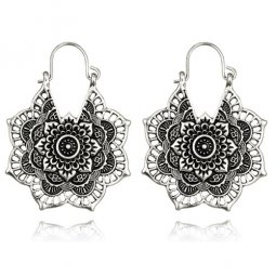 A-yG-5123silver Sliver Flower Mandala Hook Earrings Malaysia