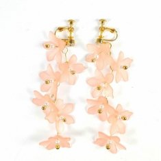 B-MSY-FLOWER1 Soft Pink Long Flowery Lily Flower Zigzag Earplug