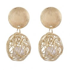 A-FX-E6106 Gold Circle Round Tangle Dangle Sphere Earstuds
