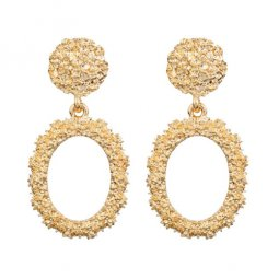 A-FX-6095GD Gold Circle Texture Minimal Fashion Trendy Earstuds