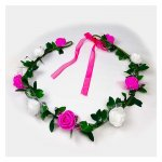 A-LB-010pinkmix Flowergirl Crown White Pink Roses Flora Headband