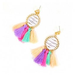 a-SD-XL286color Mixed Color Tassel Laced Up Summer Strings Earri