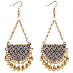 P131303 Two Tone Black Grey Vintage Gold Bells Hook Earrings