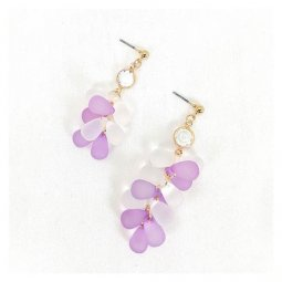 A-GH-ER1405 Korean Resin Purple White Bubble Grape Earrings
