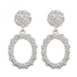 A-FX-6095GY Silver Circle Texture Simple Fashion Earstuds