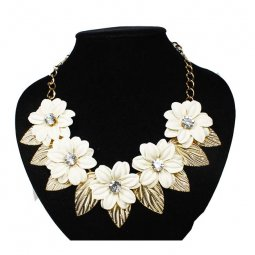 A-FF-fl87white White Spring Flower Crystal Bead Statement Neckla