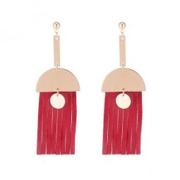 P133673 Red Rubber Tassels Gold Semicircle Dangling Korean Earst