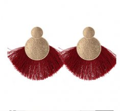 P132571 Maroon Tassel Gold Round Elegant Stud Earrings Shop