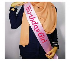 A-AP-LPP4292pink Birthday Girl Pink Wording Pink Party Sashes