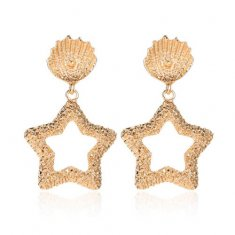 A-JW-4391 Golden Shells With Dangling Star Elegant Earstuds