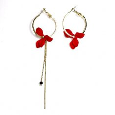 A-UK-1 RED PETALS ELEGANT HOOP EARRINGS MALAYSIA