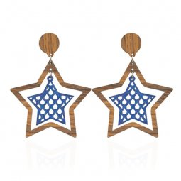 A-HY-E407star Wooden Texture Double Layer Star Shape Earstud Sty