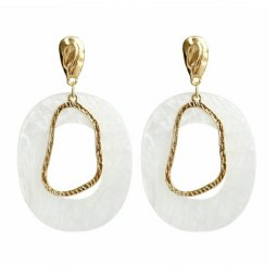 A-FX-E6033 - White Circle Gold Simple Eartuds Earrings