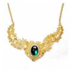 A-CJ-9285 Classic Statement Necklace Green Emerald Gem Necklace