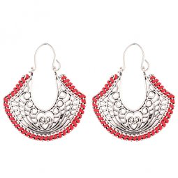 A-DW-HXE043red Sliver Vintage Hearts Pattern Red Hook Earrings