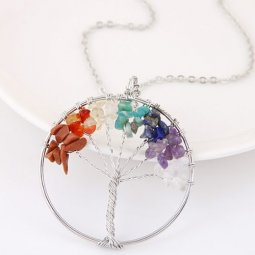 C0150805107 Colourful Wishing Tree Silver Long Necklace
