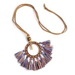 A-ZB-XL763 Blue-Brown Tassel Round Funky Vintage Necklace Shop