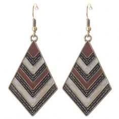 A-DW-HQE086broqwn Bohemian Style Brwon Hook Earrings Wholesale