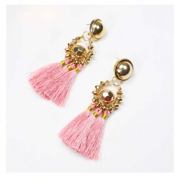 A-FX-E6396Pink Pink Tassel Bulky Round Gold Bead Dangling Earrin