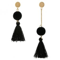 A-YG-4770black Black Tassels Dangling Balls Korean Earstuds Shop