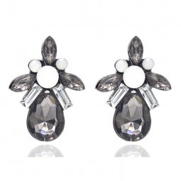 A-FF-ED-057 Elegant Black Silver Crystal Beads Korean Inspired E