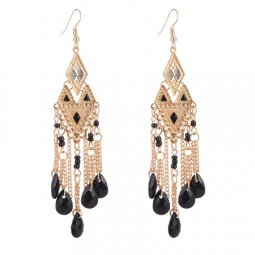 A-Q-Q8069 Black triangle dangling beads earrings wholesale shop