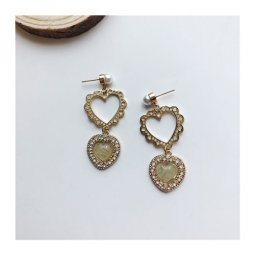 A-TT-1161VIN Vintage Gold Cute Hearts Trendy Korean Earstuds