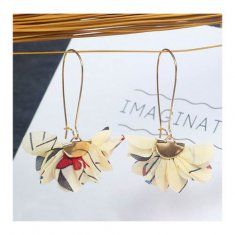 A-MDD-E1388 Beige Flower Patterned Korean Style Hook Earrings