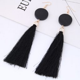 C090433215 Black Tassel Round Wooden Hook Earrings Wholesale