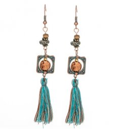 A-KJ-E020241bead Vintage Wooden Bead Tassel Hook Earrings