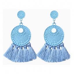 A-FF-E3708skyblue Skyblue Tassel Textured Circle Plat Earstuds