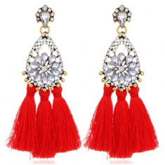 A-H2-106E313red Sparkling Crystals Flower Red Tassel Earstuds