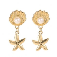 A-JW-2566 Golden Shell With Pearl & Dangling Starfish Earstud