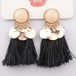 A-SD-EH104411 Black Tassel Gold Circle Tassel Statement Earstuds