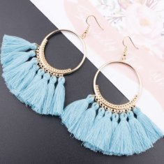 A-SD-SL218 Skyblue Tassels Round Bohemian Hook Earrings