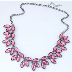 C0150732143 Pink Leaves Crystals Black Chain Statement Nekclace