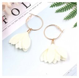 A-HH-HQEF1384white White Tulip Flower Hoop Earrings Korean Style