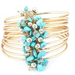 A-CJ-CZ7086 Turquoise beads layer bohemian arabian bangle set