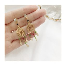 A-TT-1049DREAM Gold Dream Catcher With Red Green Gems Earstuds