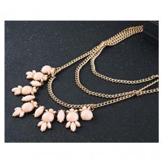 A-OSD-201311 Peach Statement Necklace Layered Gold Chains
