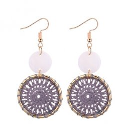 P131007 Grey Bohemian Dreamcatcher Hook Earrings Wholesale