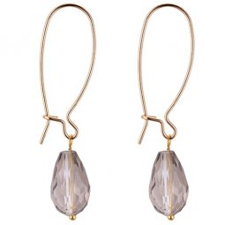 P132217 Clear Grey Crystal Hook Earrings Malaysia