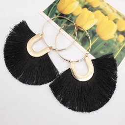 A-SD-XL109633black Black Huge Tassels Vogue Gold Hoops Earrings