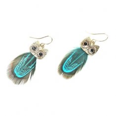 A-HH-HQEF-318GREEN OWL WITH FEATHER HOOK EARRINGS