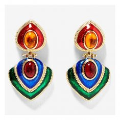 A-MY-za2019B Flaming Bright Gem Stones Boho Statement Earrings