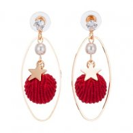 A-KJ-E020979red Red Shell Gold Oval Ring Pearl Star Earstuds